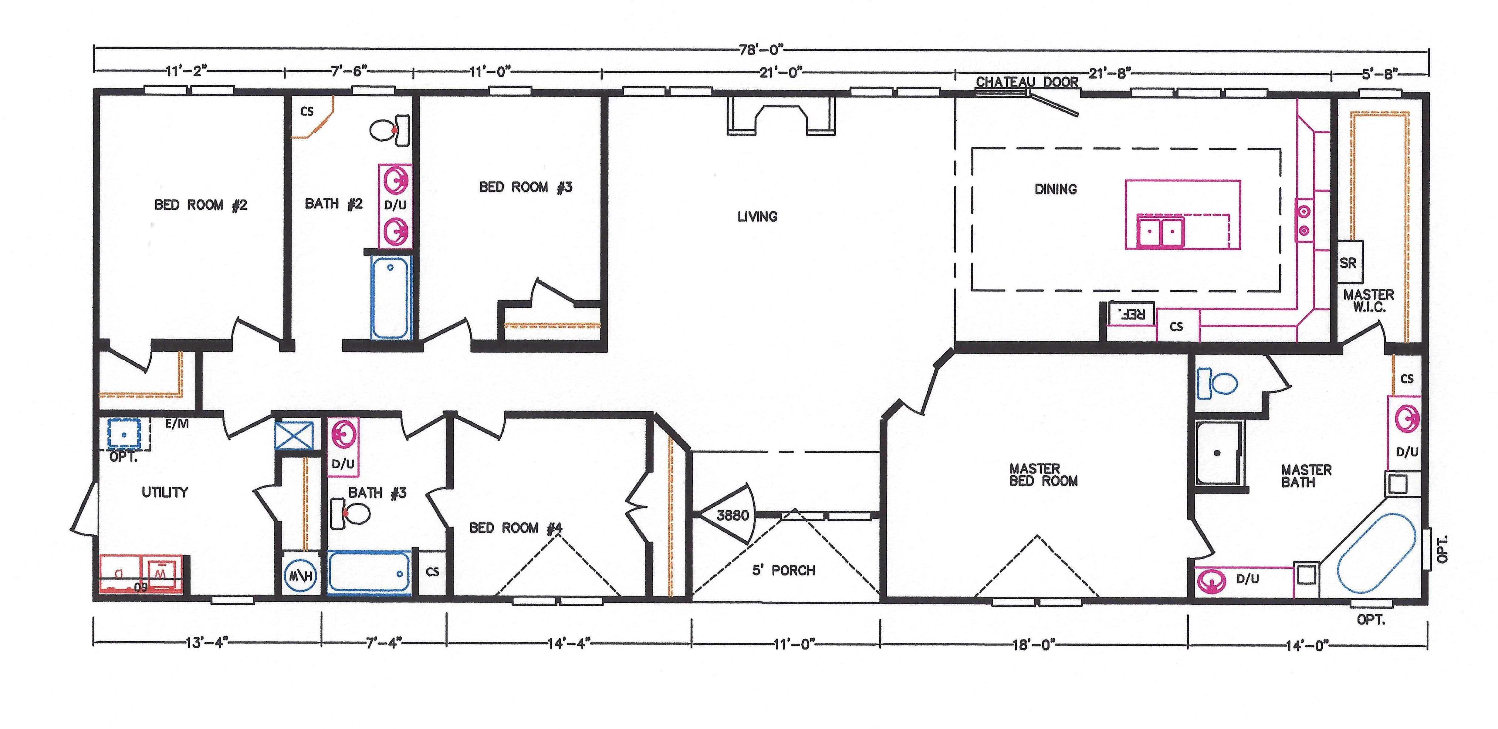 4 bedroom floor plan k 3239 hawks homes manufactured for 4 bedroom mobile home floor plans