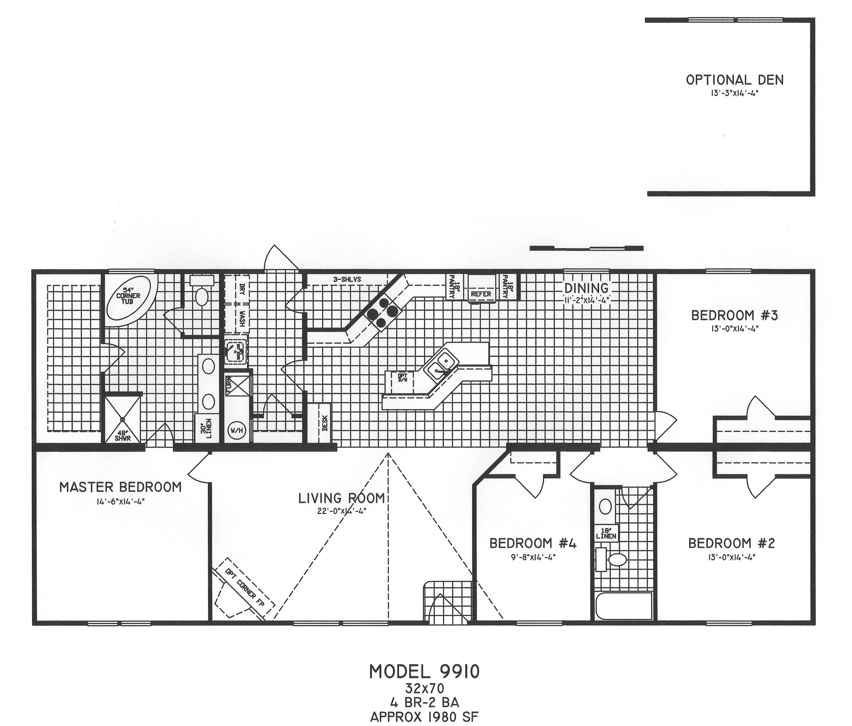 4 Bedroom Floor Plan: C-9910 - Hawks Homes