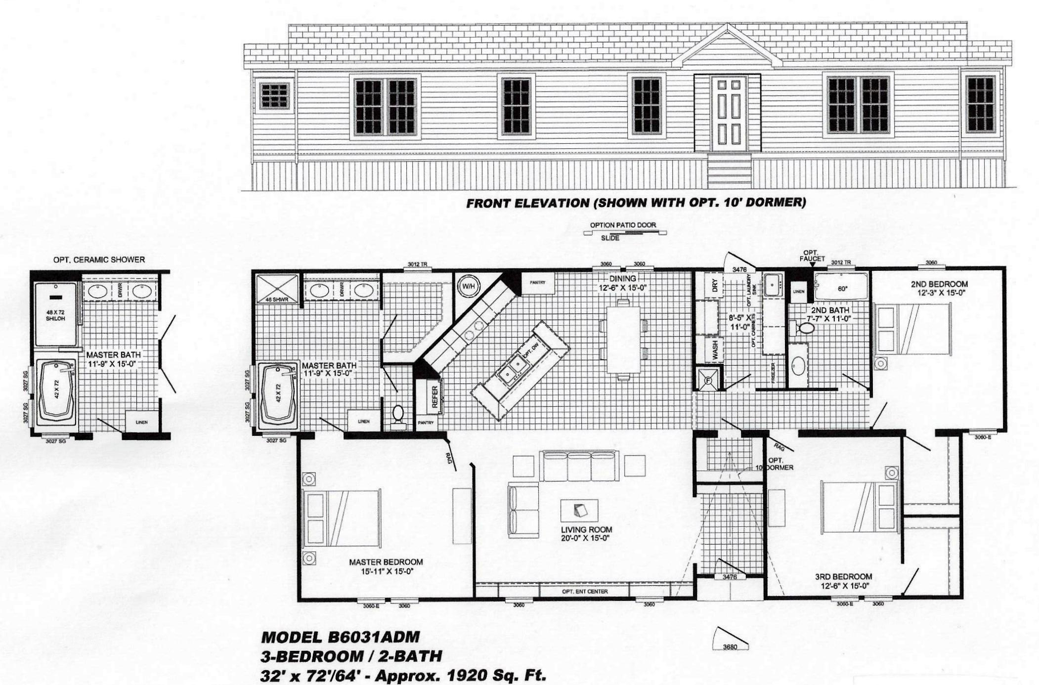 3 bedroom floor plan b 6031 hawks homes manufactured
