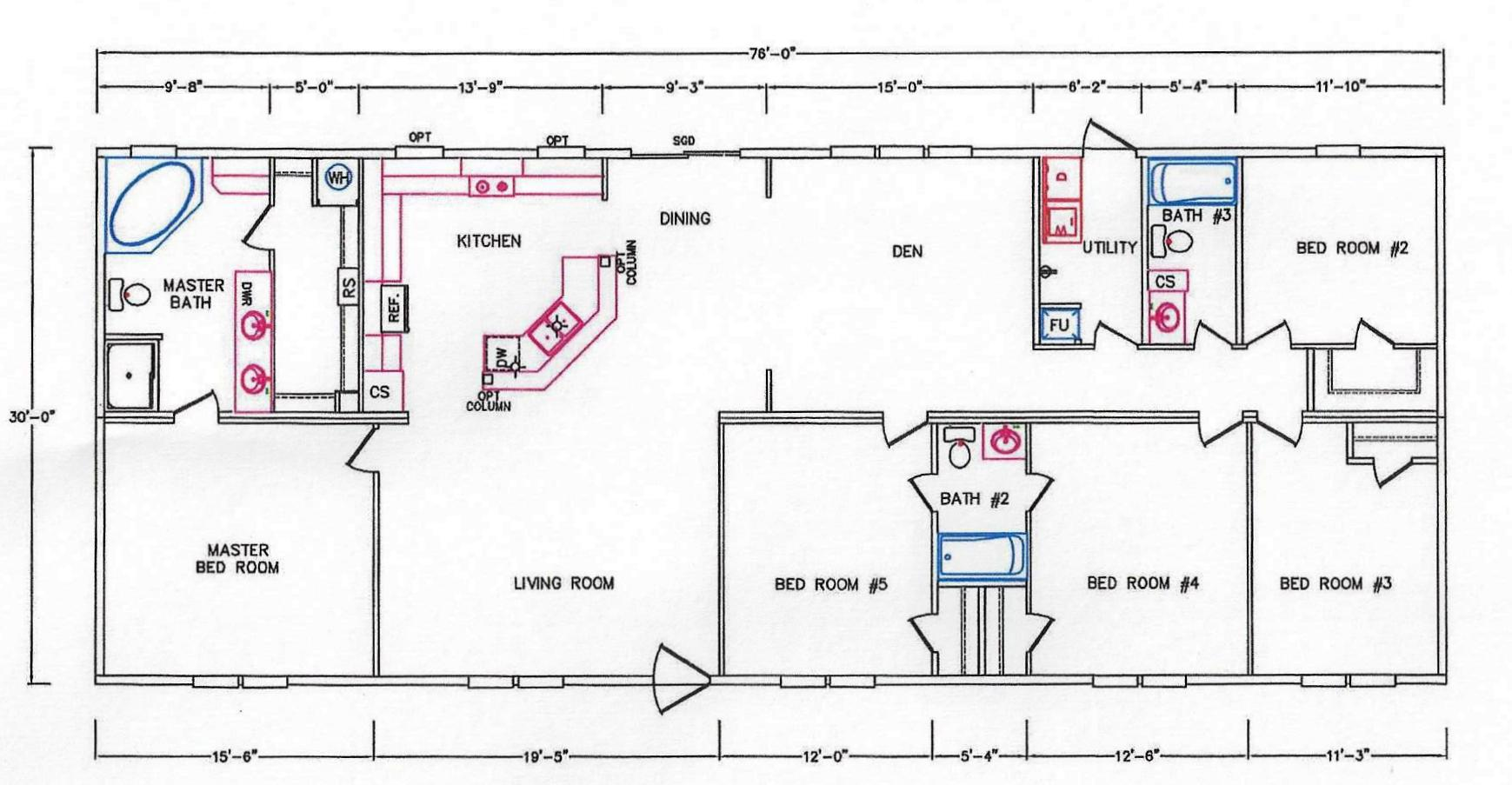 5 Bedroom Floor Plan: K-32 - Hawks Homes | Manufactured & Modular ...