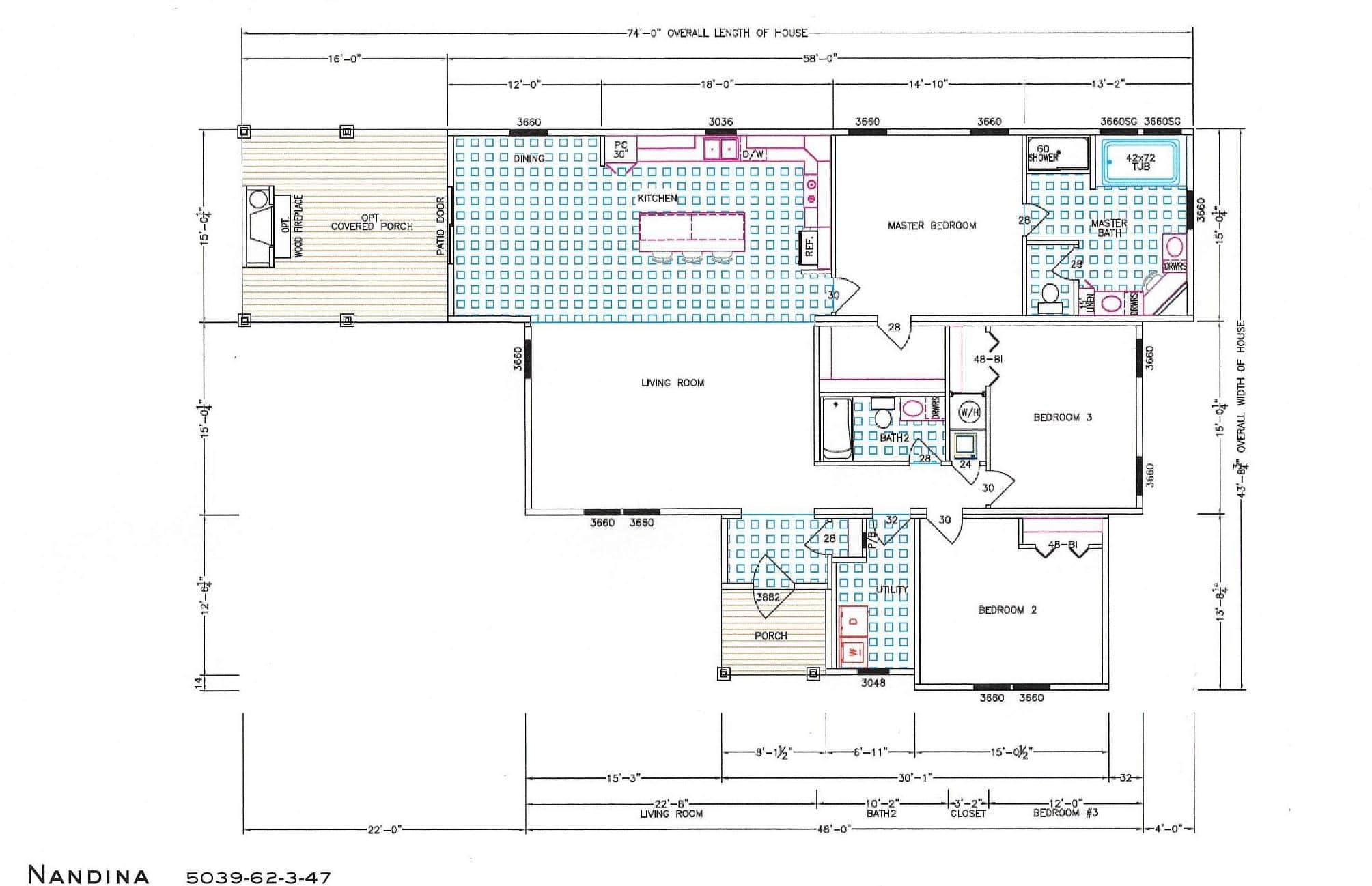 3 Bedroom Floor Plan: F-5039 Nandina - Hawks Homes | Manufactured ...