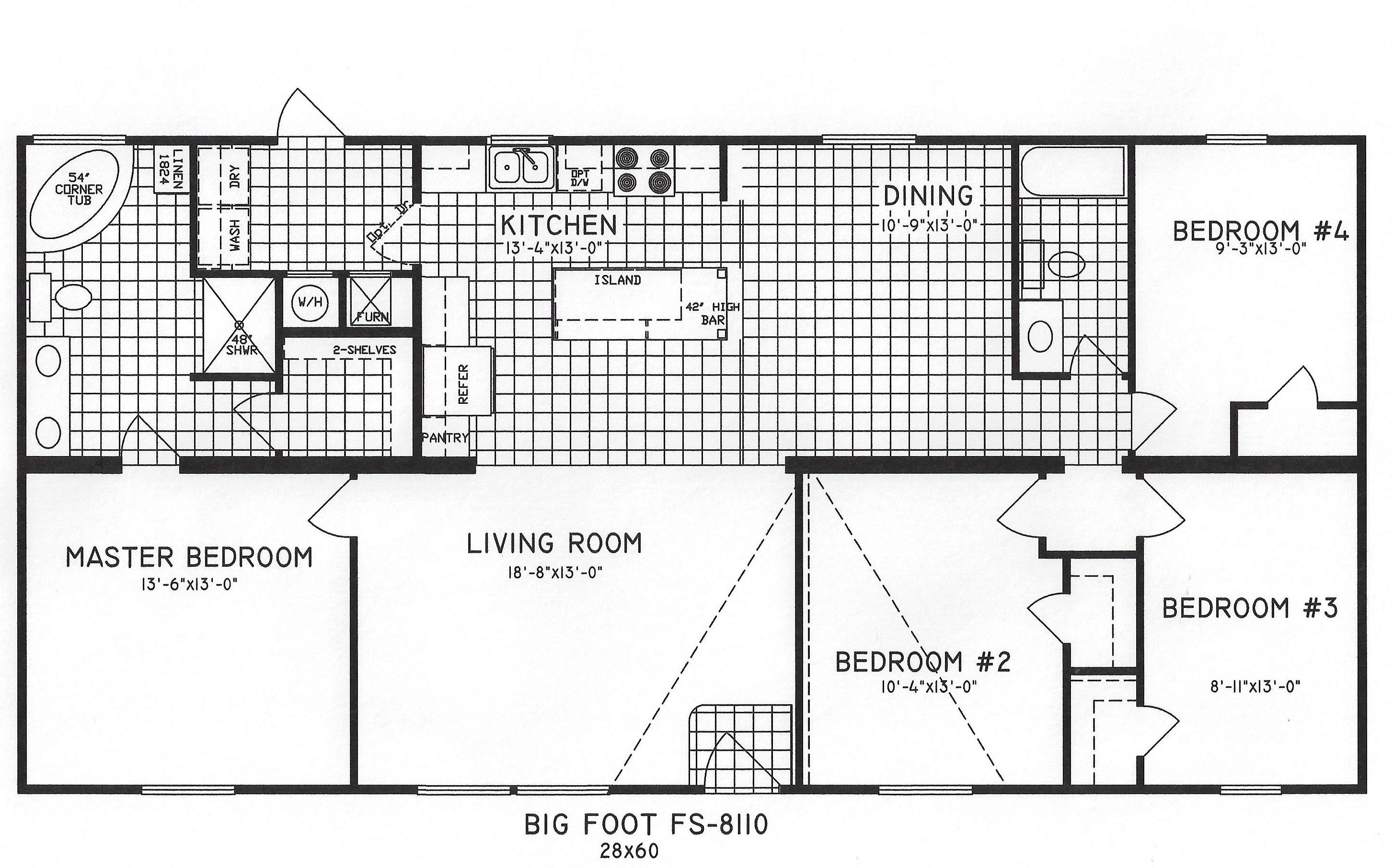 4 bedroom floor plan c 8110 hawks homes manufactured for Simple four bedroom house plans