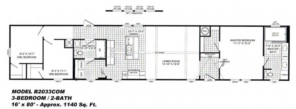 3 Bedroom Floor Plan: B-2033 - Hawks