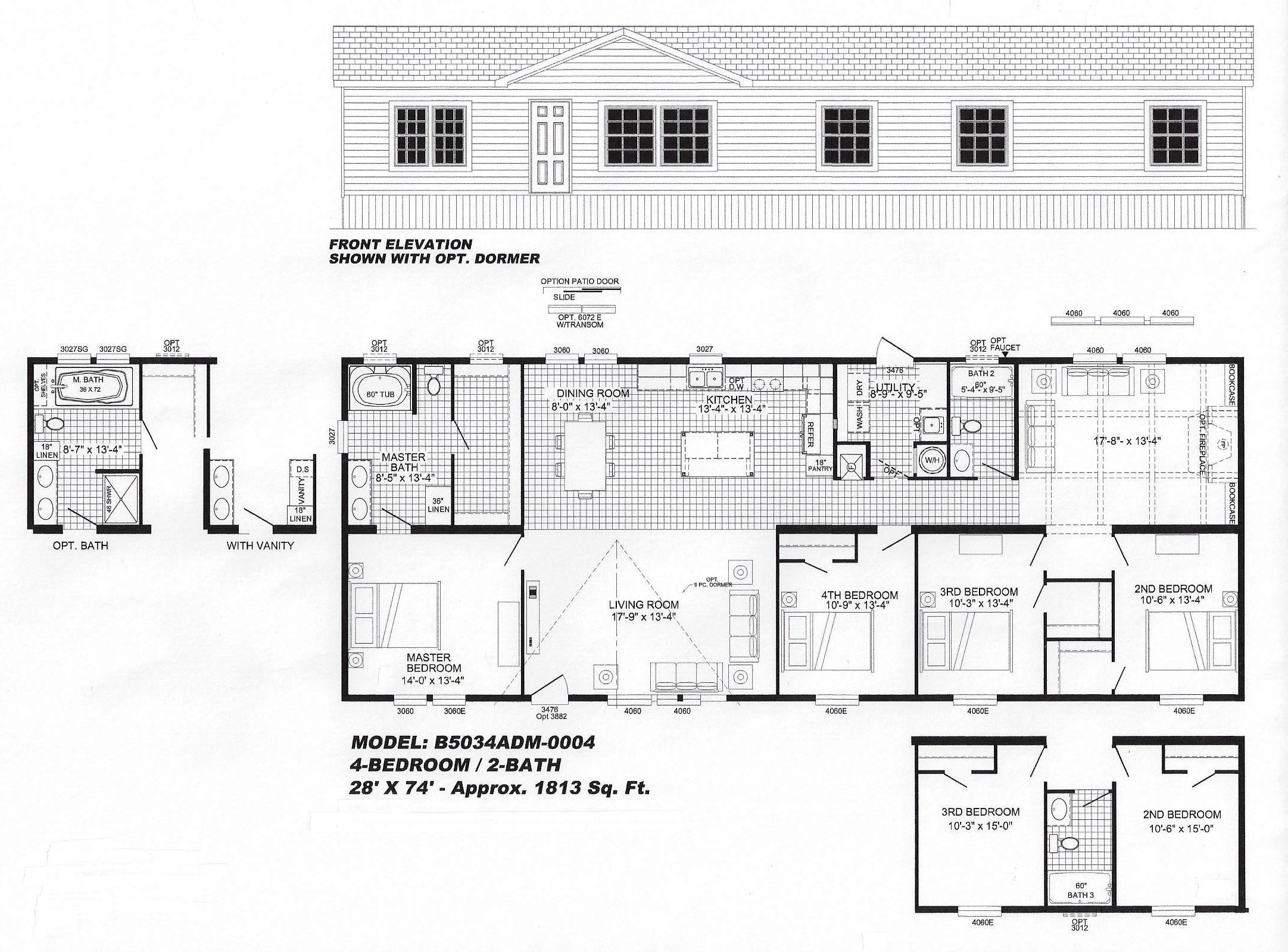 4 Bedroom Floor Plan B 5034 Hawks Homes Manufactured
