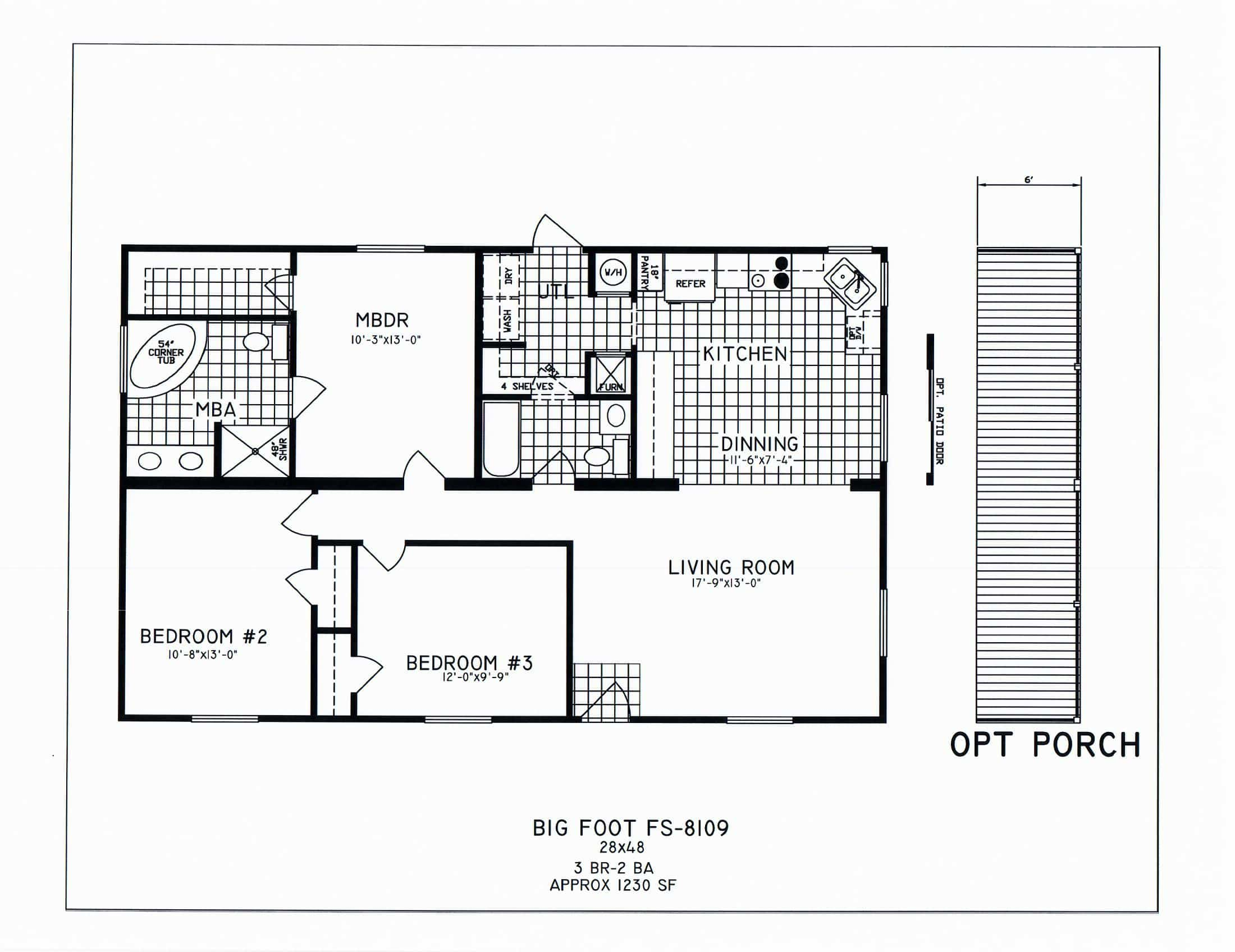 3 bedroom floor plan c 8109 hawks homes manufactured for Vice president house floor plan