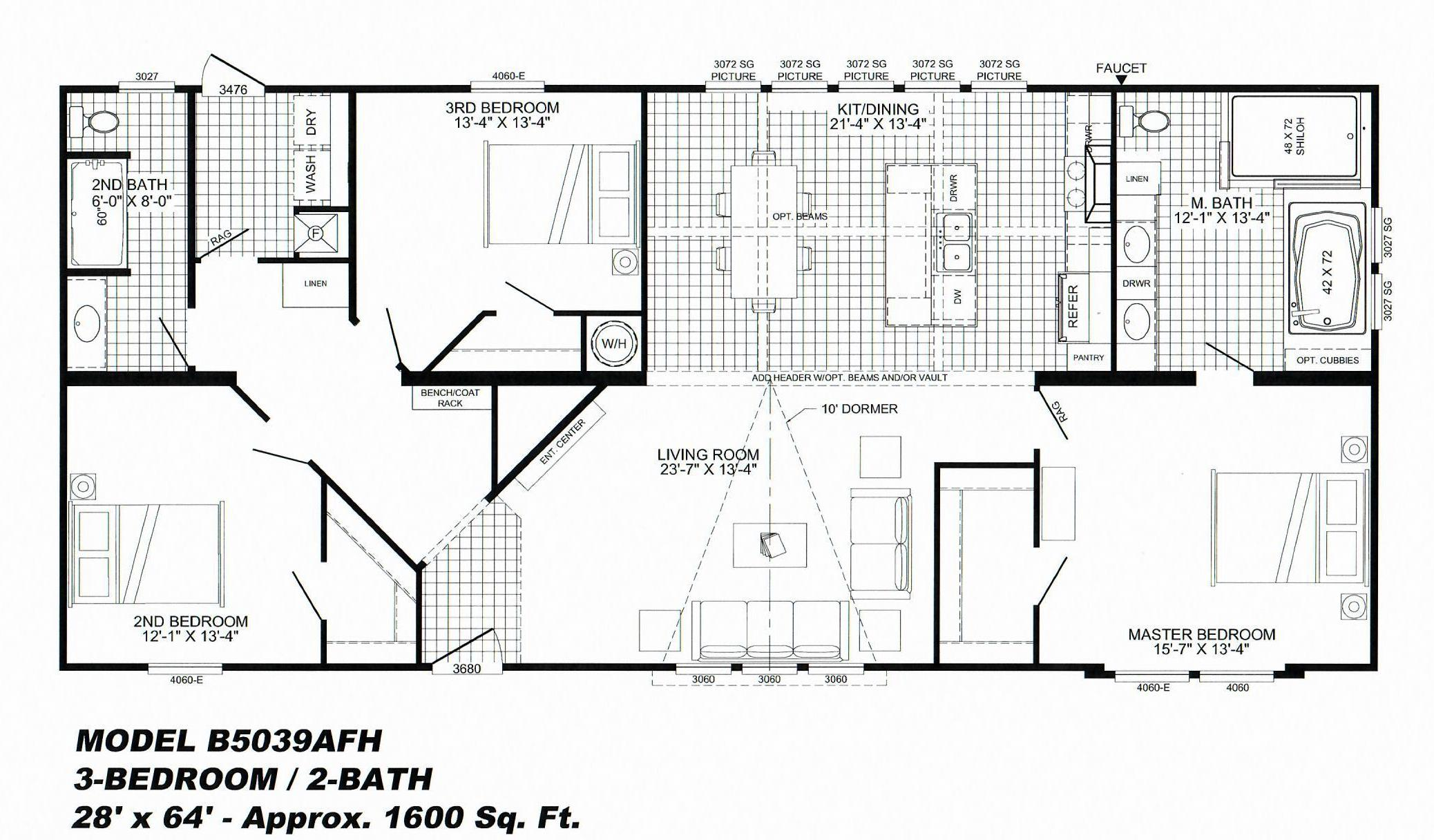 3 Bedroom Floor Plan B 5039 Avalyn Hawks Homes Manufactured