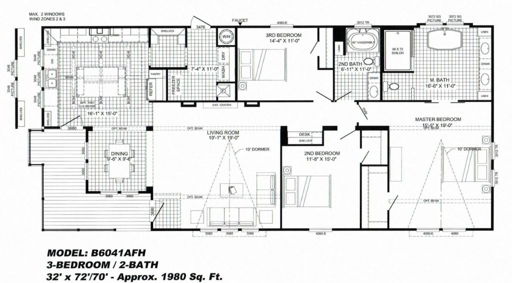 3 Bedroom Floor Plan B 6041 Quot Lulamae Quot Hawks Homes