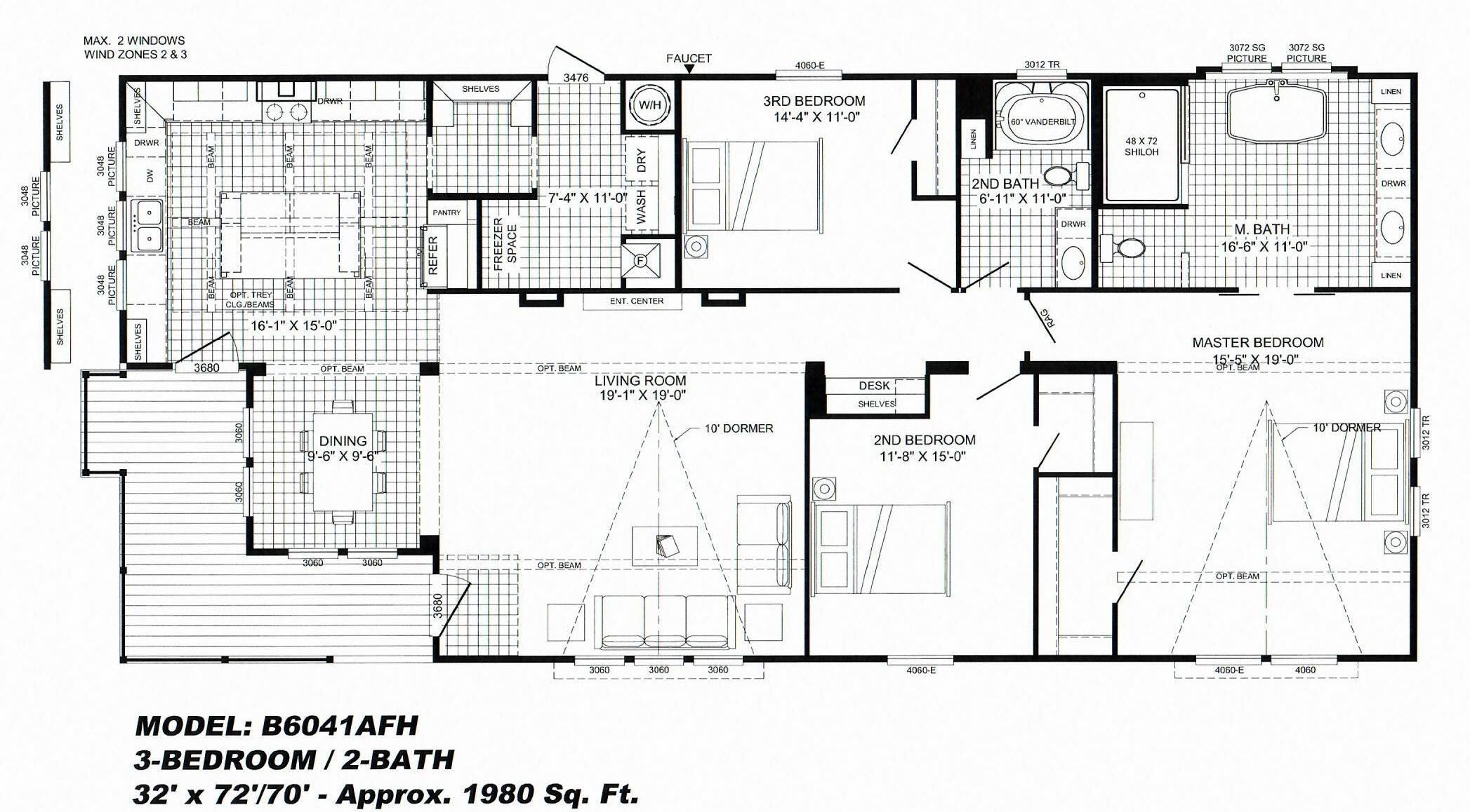 3 bedroom floor plan b 6041 lulamae hawks homes 3 bedroom modular home floor plans