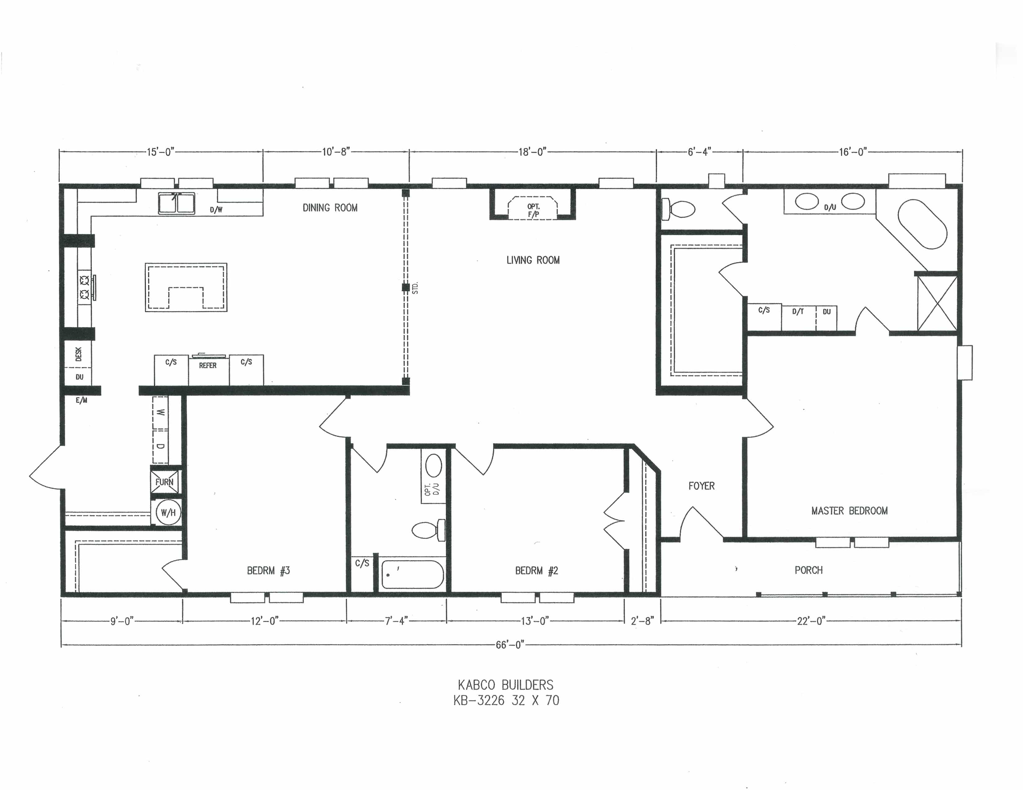 3 Bedroom Floor Plan K 3226 Hawks Homes Manufactured