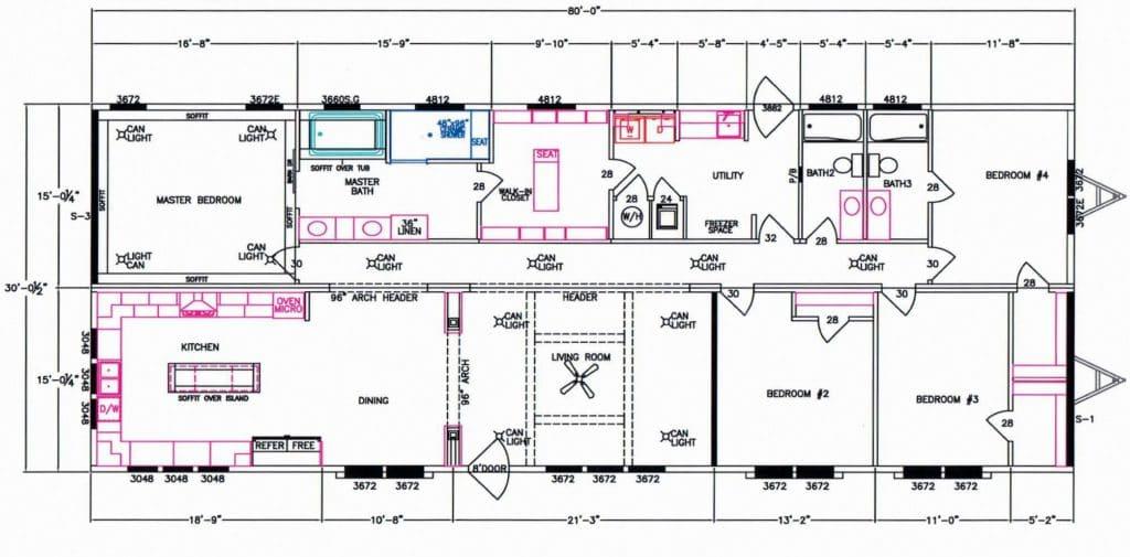 4 Bedroom Floor Plan: F-5071 - Hawks Homes   Manufactured ...