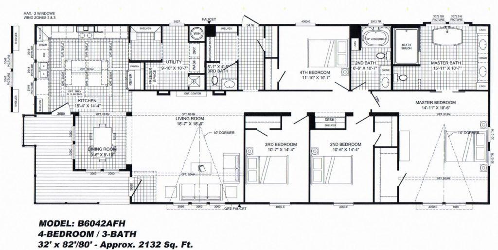4 Bedroom Floor Plan: \