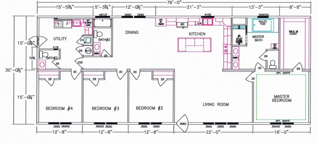 4 Bedroom Floor Plan F 5080 Hawks Homes Manufactured