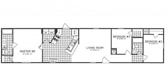 3 Bedroom Floor Plan: C-8002