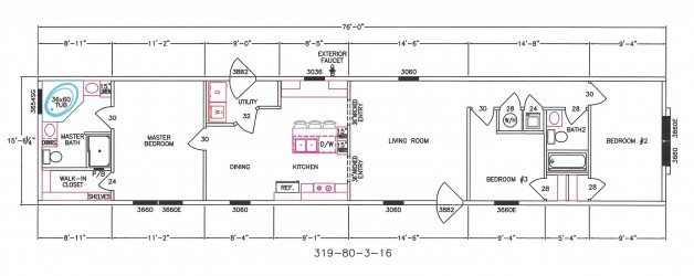 3 Bedroom Floor Plan: F-319
