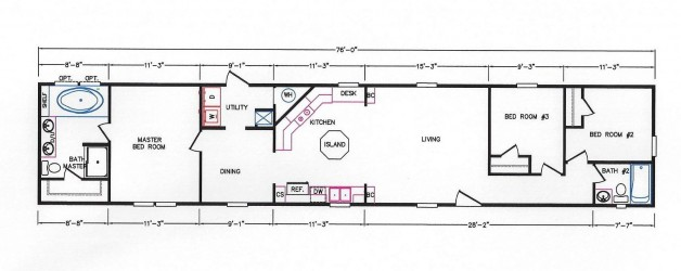 3 Bedroom Floor Plan: K-109
