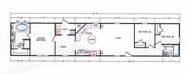 3 Bedroom Floor Plan: K-109