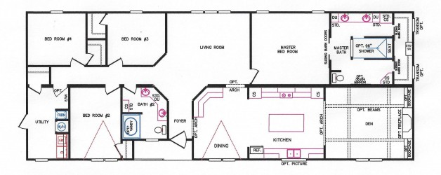 4 Bedroom Floor Plan: K-3241