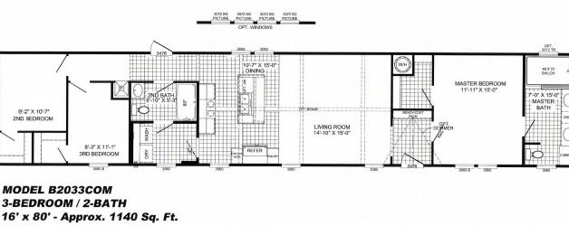 3 Bedroom Floor Plan: B-2033