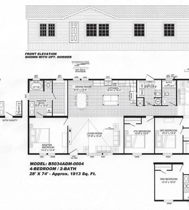 4 Bedroom Floor Plan  B 5034. 4 Bedroom Floorplans Modular and Manufactured Homes in AR