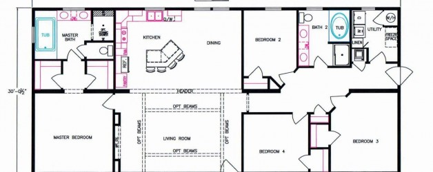 4 Bedroom Floor Plan: F-1009