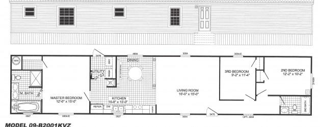 3 Bedroom Floor Plan: B-2001